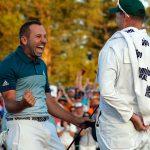 Sergio García celebra ganar el Masters de Augusta