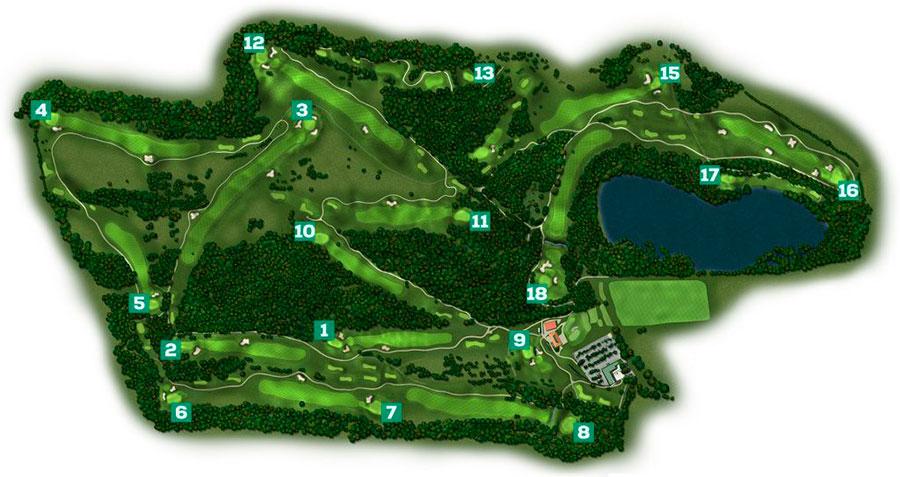 Vista cenital de los 18 hoyos del campo de golf Izki