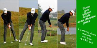 Golpear la bola de golf en los diferentes planos. Cuando está a la misma altura, más alta y más baja de los pies.