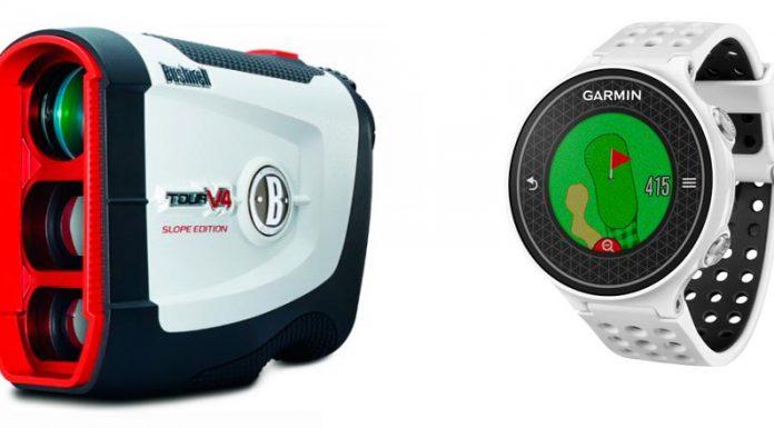 Medidores de distancia láser y relojes GPS para la práctica del golf