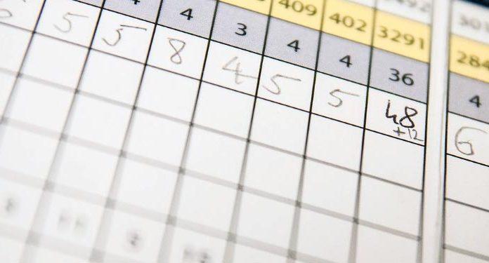 Birdie - 1 bajo par - tarjeta de puntuación golf